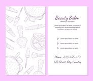 Beauty Salon Banner Template with Place For Your Text, Cosmetics and Beauty Background with Make Up Artist Objects vector illustration