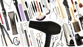 Beauty Salon and Barber shop Tools or Equipment Isolated Stock Photography
