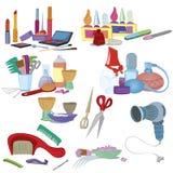 Beauty Salon Brushes, Make Up Manicure Icon Set Royalty Free Stock Images