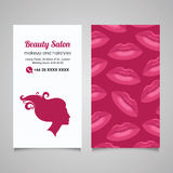 Beauty Salon business card design template with beautiful woman' Stock Photo