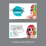 beauty salon card with woman wearing colorful wig Stock Image