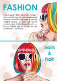 beauty salon card with woman wearing colorful wig Royalty Free Stock Photography