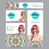 beauty salon card with woman wearing colorful wig Stock Photos