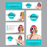beauty salon cards with woman wearing colorful wig Royalty Free Stock Photos
