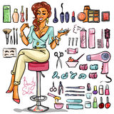 Beauty Salon cartoon collection Royalty Free Stock Images