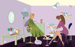 Beauty salon  client is getting pedicure Stock Photos