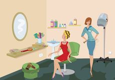 Beauty salon client in red dress Royalty Free Stock Image
