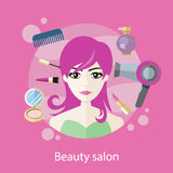 Beauty Salon Concept Flat Style Design Royalty Free Stock Photography
