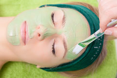 Beauty salon. Cosmetician applying facial mask at woman face. Beauty treatment concept. Woman relaxing in spa salon. Cosmetician applying clay facial mask at royalty free stock images