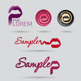 Beauty salon and cosmetics logo with mouth Royalty Free Stock Photos
