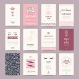 Beauty Salon, Cosmetics Shop, Makeup Artist Business Card Templates Collection. Cosmetics shop business cards, beauty salon invitations, spa flyer, makeup artist stock illustration