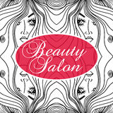 Beauty Salon Cover with Abstract beautiful woman face  Stock Photos