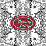 Beauty Salon Cover with Abstract beautiful woman face  Stock Photography
