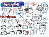 Beauty salon, Doodle set. Modern funky Royalty Free Stock Photo
