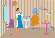Beauty salon dying hair Royalty Free Stock Photography