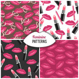 Beauty salon fashion cosmetics seamless pattern Stock Image