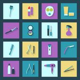 Beauty salon flat icons set Royalty Free Stock Photography