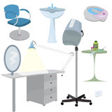 Beauty salon furniture  icon set Royalty Free Stock Photos