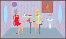 Beauty salon girl with brush stock illustration