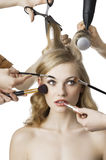 In beauty salon,the girl looks at left Stock Image