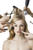 In beauty salon, the girl looks in to the lens Stock Photo