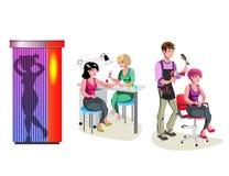 Beauty salon . Haircut, manicure and solarium. royalty free illustration