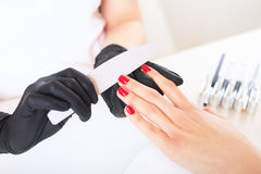 Beauty salon, hand care. Studio photography. The process of caring for the hands. Stock Photography