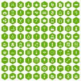 100 beauty salon icons hexagon green Stock Photo