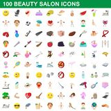 100 beauty salon icons set, cartoon style. 100 beauty salon icons set in cartoon style for any design illustration royalty free illustration