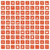 100 beauty salon icons set grunge orange. 100 beauty salon icons set in grunge style orange color isolated on white background vector illustration vector illustration