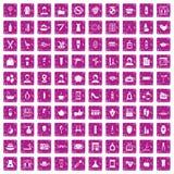 100 beauty salon icons set grunge pink. 100 beauty salon icons set in grunge style pink color isolated on white background vector illustration royalty free illustration