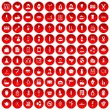 100 beauty salon icons set red. 100 beauty salon icons set in red circle isolated on white vector illustration Royalty Free Stock Images