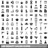 100 beauty salon icons set in simple style. For any design vector illustration Royalty Free Stock Photo