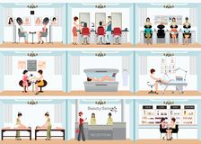 Beauty salon info graphic of people in spa and various beauty pr Stock Photos