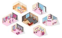 Big beauty salon rooms interior isometric set vector illustration