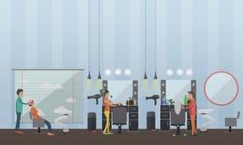 Beauty salon interior vector concept banners. Hair style design studio. Women in haircut atelier. Stock Photos