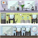 Beauty salon interior vector concept banners. Haircut, manicure and make up atelier.  Royalty Free Stock Photo