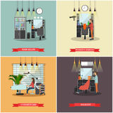 Beauty salon interior vector concept banners. Haircut, manicure and make up atelier. Royalty Free Stock Images