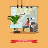Beauty salon interior vector concept banners. Skin treatment studio. Illustration in flat cartoon style Royalty Free Stock Photos