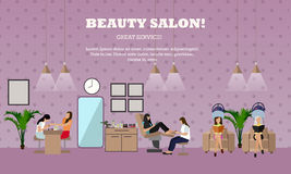 Beauty salon interior vector concept banners. Women in manicure and make up design studio Stock Photo