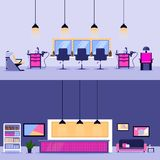 Beauty salon interior, vector flat illustration. Reception desk and barber workplace design elements stock illustration
