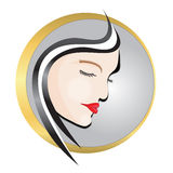 Beauty Salon Logo. Illustration of creative woman face Royalty Free Stock Photo