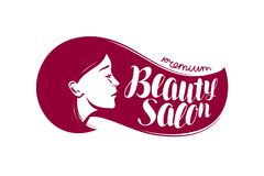 Beauty salon, logo or label. Makeup, makeover, cosmetic,. Fashion icon Typographic design vector Stock Images