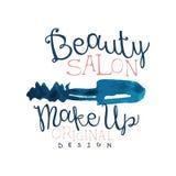 Beauty salon logo, make up original logo design, label for beauty studio, cosmetics shop, spa center watercolor vector. Illustration on a white background Stock Photo