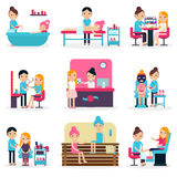 Beauty Salon People Flat Collection Royalty Free Stock Image