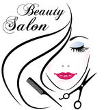 Beauty salon pretty woman hair face logo Stock Photo