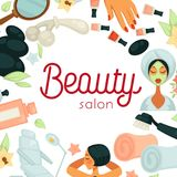 Beauty salon promotiobal poster with equipment for procedures. Beauty salon promotional poster with equipment for procedures. Skincare and relaxation services of Royalty Free Stock Photography