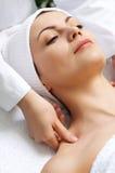 Beauty salon series. Young beautiful woman getting treatment at beauty salon Royalty Free Stock Photos