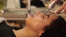 Beauty salon series. Beauty treatment, girl closeup hd stock video footage