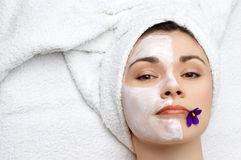 Beauty salon series: facial mask Stock Photos